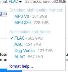 Mögliche Audio-Formate von bandcamp.com
